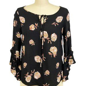 Everly Top Blouse Ruffle Bell Sleeve Black Floral